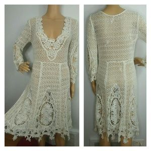 Free People Ivory Crochet Lace Midi Dress Bridal